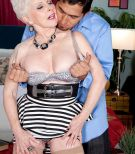Over 60 granny pornstar Jewel having big mature boobs released from dress