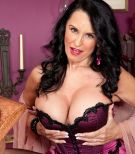 Over 60 MILF pornstar Rita Daniels flaunting big mature tits in lingerie and nylons