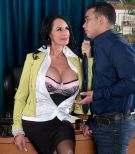 Stocking and skirt garbed over 60 MILF Rita Daniels seducing big cock in office