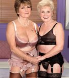 Kinky grandmothers Bea Cummins and Jewel tongue smooch and give big junk dual ORAL JOB