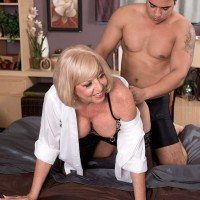 Blonde MILF over 60 Scarlet Andrews seducing sex from younger man in lingerie