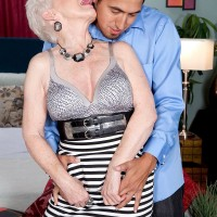 Over 60 GILF Jewel having big natural knockers exposed before fuck session