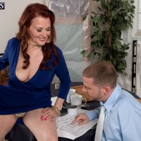 Over 60 MILF Katherine Merlot unleashing large saggy breasts for younger man