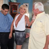 60+ housewife Scarlet Andrews gets nailed by younger stud while hubby watches