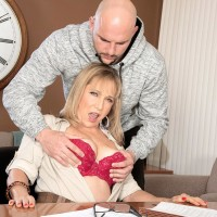 Over Sixty tutor Luna Azul seduces a male college girl in her office place