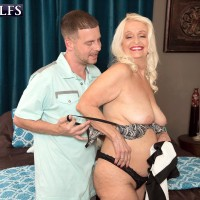 Plump Sixty plus MILF Vikki Vaughn revealing plus sized elderly broad ass and humungous juggs