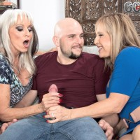 Sixty plus MOMMIES Sally D'Angelo and Luna Azul give a double handjob and blowjobs