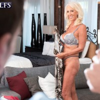 Stellar over Sixty MILF Madison Milstar tempts a younger man in her bra and underwear