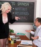 Over 60 schoolteacher Angelique DuBois tit fucking student in black nylons