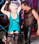 Short haired grandmother Jewel enjoying xxx DOMINATION & OBEDIENCE sex in latex dress and hosiery