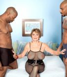 Buxom 60 plus MILF Bea Cummins draining BIG BLACK COCK in bi-racial threeway sex jamboree