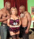 Huge-chested platinum-blonde MILF over 60 Luna Azul penetrated by huge black prick during interracial MMF