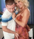 Buxom over 60 MILF Cara Reid baring large granny tits and fucking younger man
