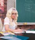 Sumptuous older tutor Gal S entices a masculine student in a black skirt and glasses