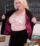 Buxom over 60 MILF teacher Angelique DuBois seducing student in classroom