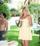 Thick sixty plus blonde Mia Magnusson seduces the gardeners outdoors for MMF sex