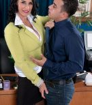 Over 60 boss lady Rita Daniels fucks her younger male employee on desk