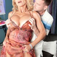 Buxom blonde GILF Cara Reid having perfect granny tits unleashed by boy toy