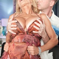 Buxom blonde GILF Cara Reid having perfect granny tits unleashed by boy toy