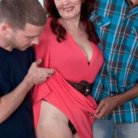 Over 60 redhead has her big tits and ass fondled by black and white guys