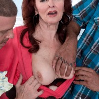 Mature over 60 pornstar Katherine Merlot taking white and black cock in 3some