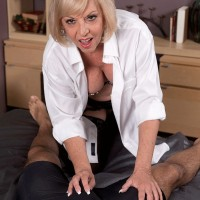 Mature blonde seduces her young Latino lover in a white shirt and lingerie