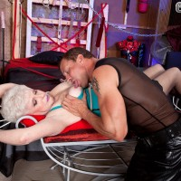 Over 70 granny Jewel bound for BDSM sex in latex outfit and stockings