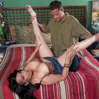Bosomy MILF over 60 Rochelle Sweet spreading legs for granny pussy pounding