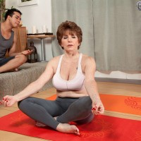Sexy 60 MILF has her big natural tits uncovered by her meditation instructor