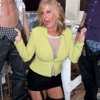 Blonde Over 60 MILF Phoenix Skye taking intense DP from younger men