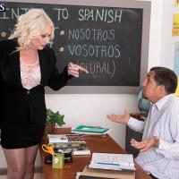 Hot over 60 schoolteacher Angelique DuBois baring big tits in classroom