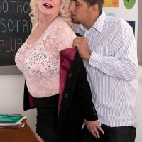 Big boobed over 60 GILF Angelique DuBois baring nice MILF melons in classroom