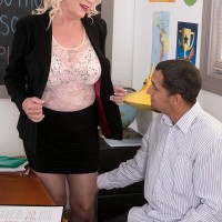 Over 60 schoolteacher Angelique DuBois tit fucking student in black nylons