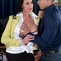 Over 60 boss lady Rita Daniels fucks her younger male employee on desk