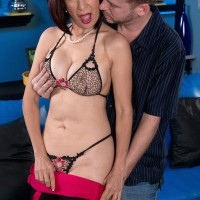 Clothed Asian MILF over 60 Kim Anh stripping down to lingerie for younger man