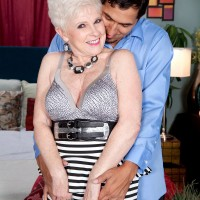 Over 60 granny Jewel using tongue to seduce younger man for older younger sex