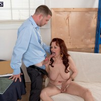 Redhead over 60 MILF Katherine Merlot exposing large saggy tits after panty flash