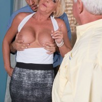 Horny over 60 MILF Scarlet Andrews fucked by younger man while cuck hubby watches