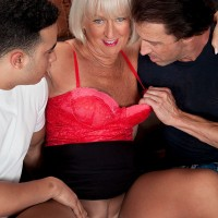 Busty over 60 granny Jeannie Lou starring in wild MMF threesome