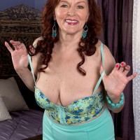 Bosomy MILF over 60 Katherine Merlot taking cock between big natural tits