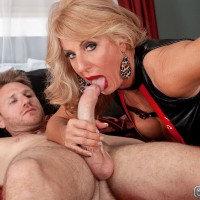 Leggy blonde MILF over 60 Phoenix Skye giving big cock oral sex in high heels