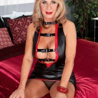Beautiful 60 plus blonde Phoenix Skye seduces a younger guy in a pleather dress
