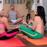 Mature pornstars Sally D'Angelo & Rita Daniels seduce their yoga instructor