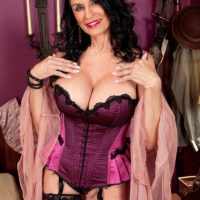Lingerie and stocking adorned 60 plus MILF Rita Daniels giving handjob and bj