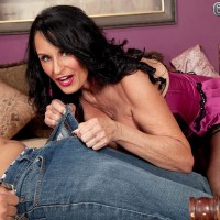 Hot over 60 MILF seduces a farm boy wearing sexy lingerie with garters and hosiery