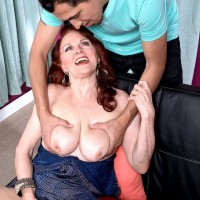 Redheaded over 60 MILF Katherine Merlot bending over for doggystyle fucking