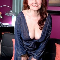 60+ redhead Katherine Merlot has her natural tits fondled after seducing a boy