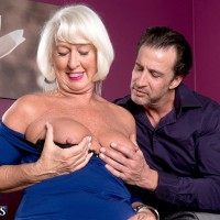 Granny pornstar Jeannie Lou flashing upskirt panties in nylons for younger man