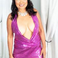 60 plus Asian MILF Mandy Thai wears no bra under her dress while seducing a boy