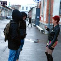 60 plus redhead Caroline Hamsel seduces a duo of dudes on the street in slutwear